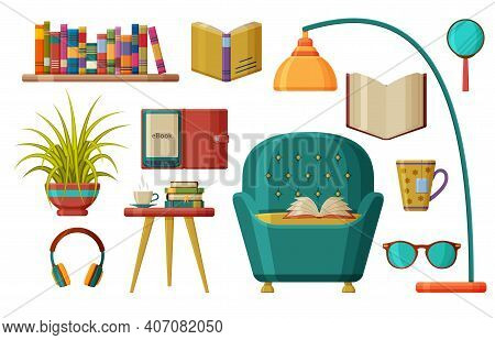 Set Of Books And Reading. Comfortable Armchair Under A Floor Lamp With An Open Book. Modern Reading