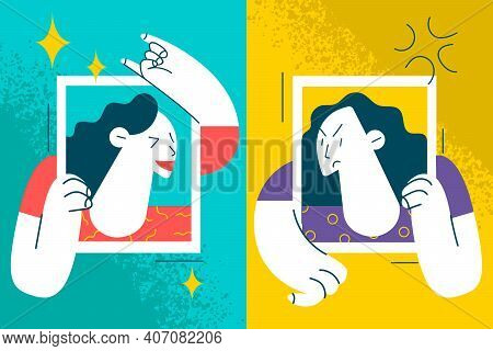 Contrasts In Mood And State Of Mind Concept. Women Holding Frames With Happy Laughing Cheerful And A