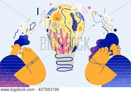 Creativity, New Ideas, Innovation Concept. Creative People Standing And Looking At Huge Light Bulb M