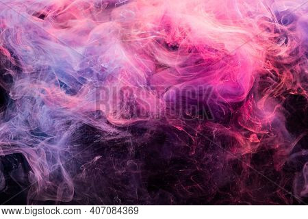 Ink In Water. Colorful Background. Creative Smoke Cloud Design. Harmony Transformation. Glowing Brig