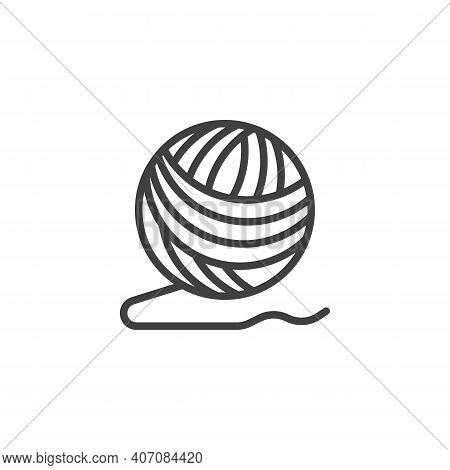 Ball Of Yarn Line Icon. Linear Style Sign For Mobile Concept And Web Design. Woolen Knitting Thread