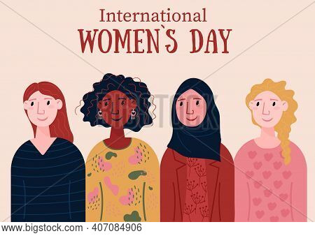 International Womens Day. Diversity Group Of People. Smiling, Happy Female Of Different Nationalitie