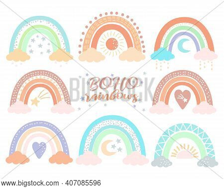 Boho Nursery Rainbow Set In Trendy Scandinavian Style, Isolated On A White Background. Cute Hygge Il