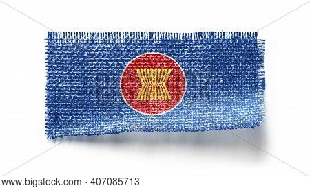 Asean Flag On A Piece Of Cloth On A White Background