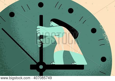 Time Management, Schedule, Opportunity Concept. Young Business Woman Standing And Trying To Stop Tim