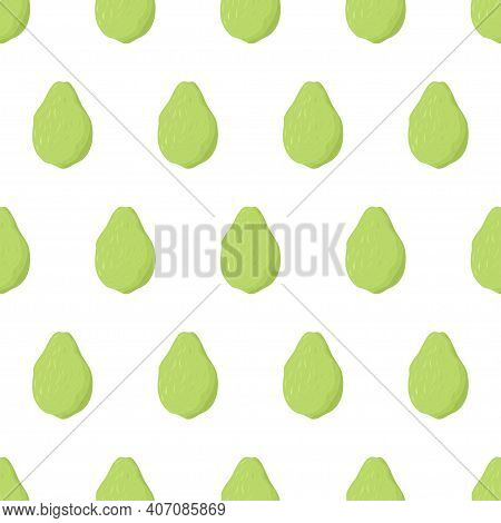 Green Guava Fruit Seamless Pattern. Nature Food Vector Illustration. Organic Textile. Healthy Food O