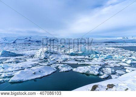 Aereal Winter Landscape View Of Jokulsarlon Lagoon, Iceland. Beautiful Landscape Picture Of Icelandi