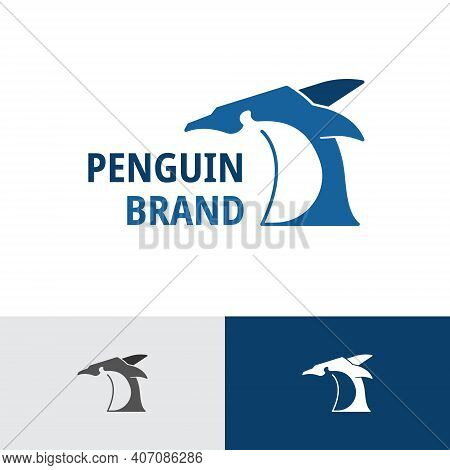 Angry Emperor Penguin Ice Animal Business Logo Template