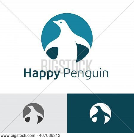 Happy Penguin Circle Negative Space Style Logo Template