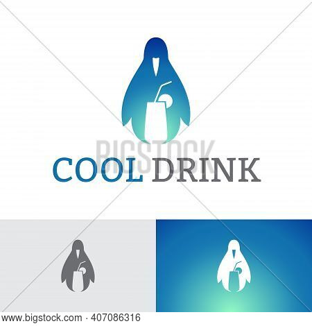 Ice Cool Drink Glass Penguin Logo Template