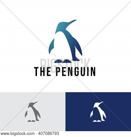 Penguin Ice Animal Negative Space Logo Template