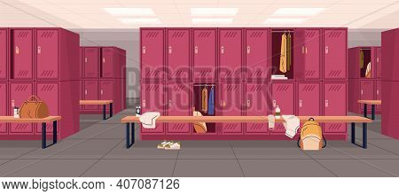Dressing Or Locker Room In Sports Club Or Gym With Bags And Towels. Interior Design Of Public Area F