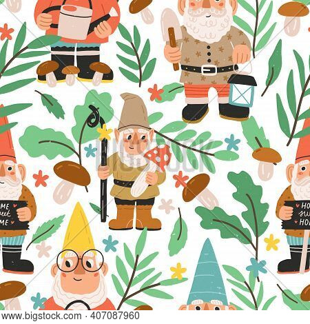 Seamless Pattern With Funny And Cute Gnomes, Dwarfs, Elves, Mushrooms, Leaves And Colorful Flowers O