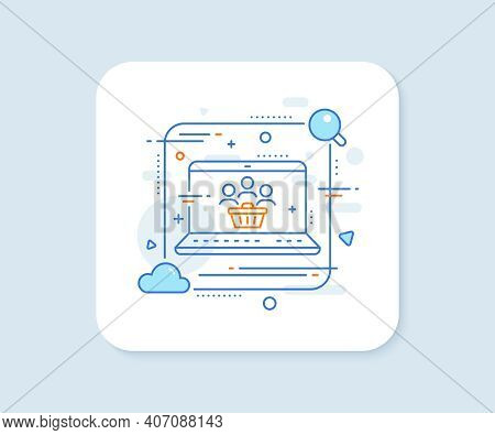 Buyers With Shopping Cart Line Icon. Abstract Vector Button. Customers Group Sign. Supermarket Clien