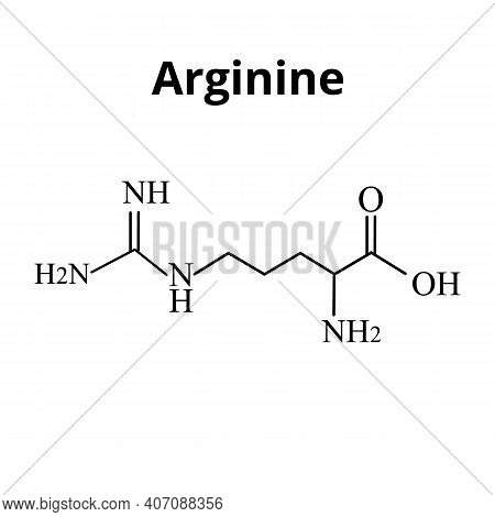 Arginine Amino Acid. Chemical Molecular Formula Arginine Amino Acid. Vector Illustration On Isolated