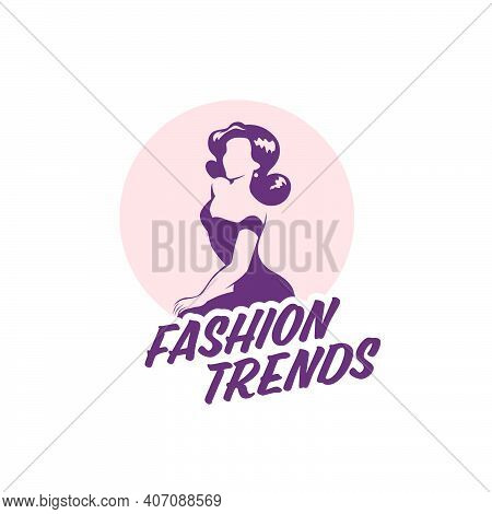 Fashion Lady Logo Design Template Isolated On White Background. Stylish Lady In Evening Dress With L
