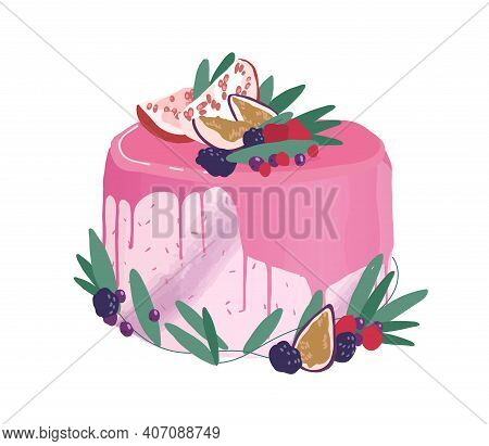 Wedding Or Birthday Dessert Decorated With Berries, Fruits And Drippy Topping. Festive Layered Cream
