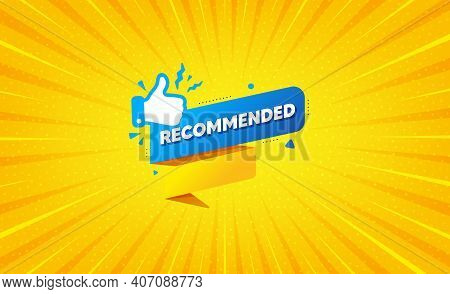 Recommended Paper Banner. Yellow Background With Offer Message. Best Deal Tag. Bubble With Thumbs Up