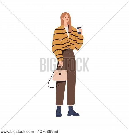 Stylish Modern Woman In Fashion Outfit. Model Wearing Loose Button Knit Cardigan, Tousers, Boots And