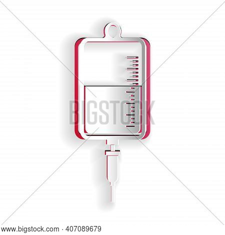 Paper Cut Iv Bag Icon Isolated On White Background. Blood Bag Icon. Donate Blood Concept. The Concep