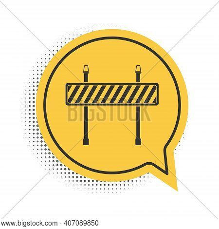 Black Road Barrier Icon Isolated On White Background. Fence Of Building Or Repair Works. Hurdle Icon