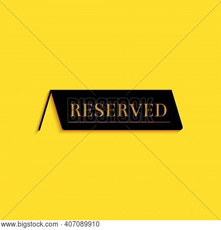 Black Reserved Icon Isolated On Yellow Background. Long Shadow Style. Vector