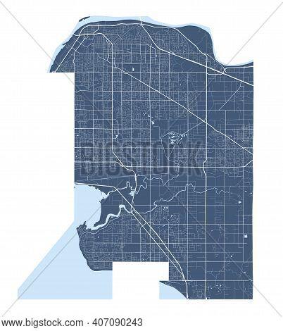 Surrey Map. Detailed Vector Map Of Surrey City Administrative Area. Cityscape Poster Metropolitan Ar