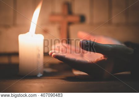 Woman Hand Praying, Praying Hands With Faith In Religion And Belief In God On Dark Background. Power
