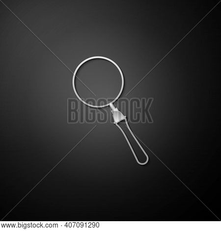 Silver Magnifying Glass Icon Isolated On Black Background. Search, Focus, Zoom, Business Symbol. Lon