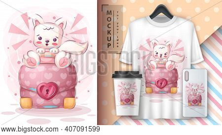 Cartoon Cute Character Animal Cat With Diplomat Poster And Merchandising. Vector Eps 10