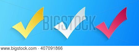Paper Cut Check Mark Icon Isolated On Blue Background. Tick Symbol. Paper Art Style. Vector