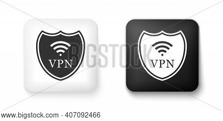Black And White Shield With Vpn And Wifi Wireless Internet Network Icon Isolated On White Background