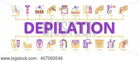Depilation Procedure Minimal Infographic Web Banner Vector. Depilation Equipment Razor And Laser, Ep