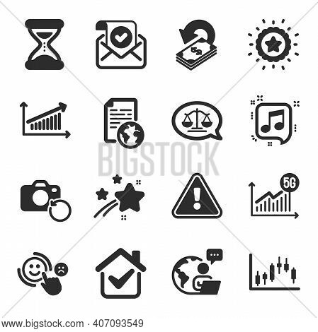 Set Of Education Icons, Such As 5g Statistics, Cashback, Confirmed Mail Symbols. Internet Document,