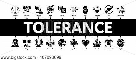 Tolerance And Equality Minimal Infographic Web Banner Vector. Tolerance For Different Religion And R