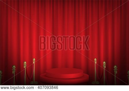 Red Podium With Stanchions Leading, Curtain In Background. Award Hall Of Fame Vector Illustration. H
