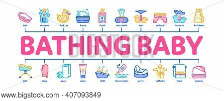 Bathing Baby Tool Minimal Infographic Web Banner Vector. Towel And Bathrobe, Bath Thermometer And To
