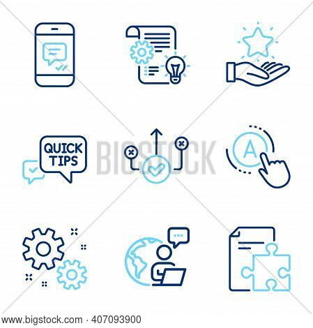 Technology Icons Set. Included Icon As Ab Testing, Quick Tips, Message Signs. Cogwheel, Work, Correc
