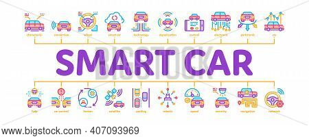 Smart Car Technology Minimal Infographic Web Banner Vector. Smart Car Autopilot And Help Parking, Sa