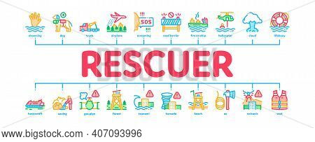 Rescuer Equipment Minimal Infographic Web Banner Vector. Rescue Dog And Truck, Helicopter And Lifebu