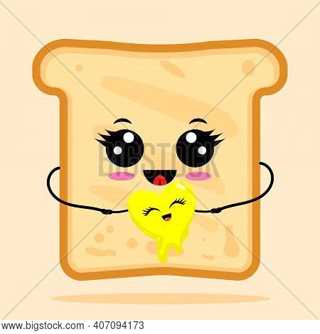 Cute Happy Toast With Shape Of Heart Butter. Breakfast Concept Toast. Vector Cartoon Character Illus