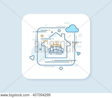 Arena Stadium Line Icon. Abstract Vector Button. Sport Complex Sign. Championship Building Symbol. A