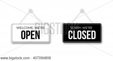 Black Closed And White Open Signboards Hanged On Suction Cup. Rectangular Shape Clipboard For Retail