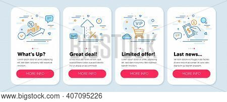 Set Of Finance Icons, Such As Vip Shopping, Loan Percent, Increasing Percent Symbols. Mobile Screen