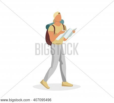 Tourist Male Character Walking And Holding Map. Traveler Man With Backpack Going Hiking And Looking