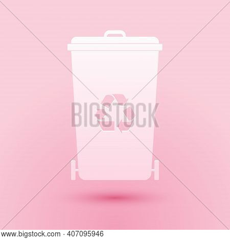 Paper Cut Recycle Bin With Recycle Symbol Icon Isolated On Pink Background. Trash Can Icon. Garbage