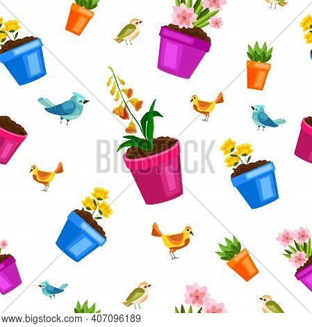 Spring Flowerpot Seamless Floral Pattern With Green Home Plants, Little Birds, Seedling, Leaves. Nat