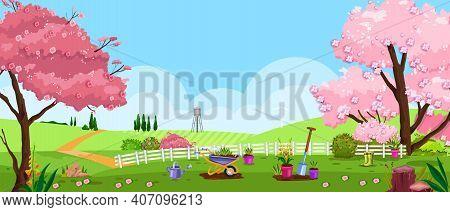 Spring, Summer Vector Garden, Backyard Nature Landscape With Blossom Sakura Tree, Fence, Grass, Mead