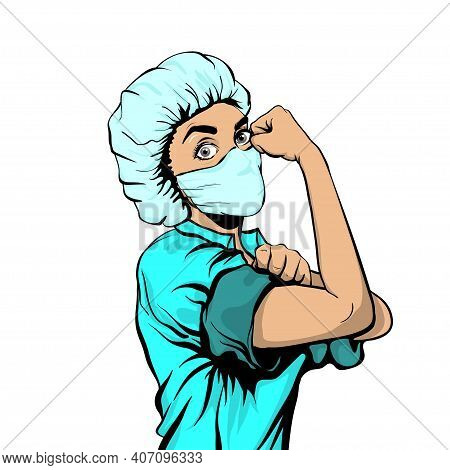 We Can Do It Woman Doctor In Medical Mask Retro Poster. Cartoon Vintage Nurse Girl In Pop Art Style.