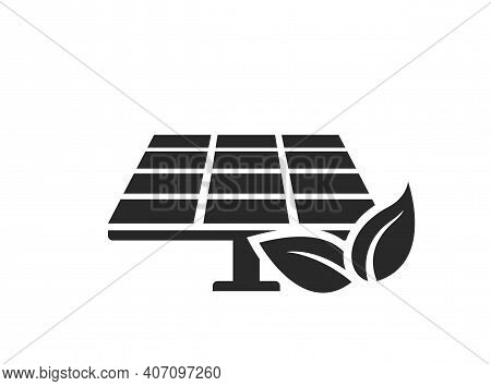 Solar Panel Icon. Eco Friendly, Sustainable, Renewable And Alternative Energy Symbol. Isolated Vecto
